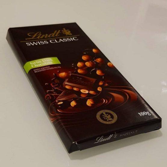 Lindt Swiss Dark Chocolate with Hazelnut Bar 100G