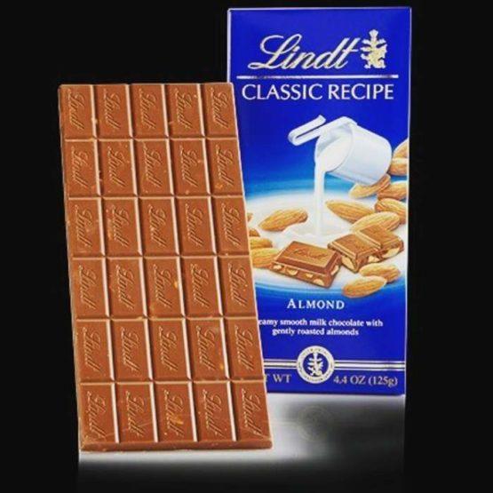 Lindt Swiss Milk Chocolate with Almonds Bar 100G