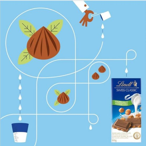 Lindt Swiss Milk Chocolate with Hazelnut Bar 100G