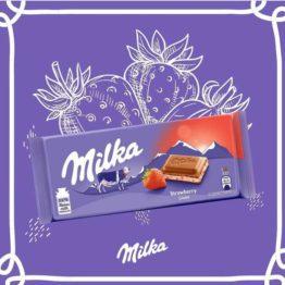 Milka Strawberry Milk Chocolate Bar 100G