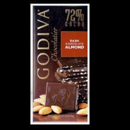 Godiva Chocolatier 72% Cacao Dark Chocolate Almond Bar 100G